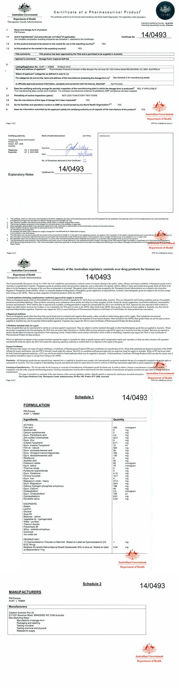 Đăng ký và chứng nhận lưu hành thuốc Procare tại Úc 1