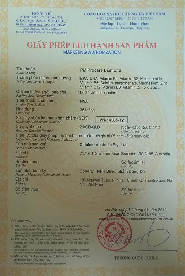 Chứng nhận lưu hành sản phẩm thuốc Procare tại Việt Nam 2