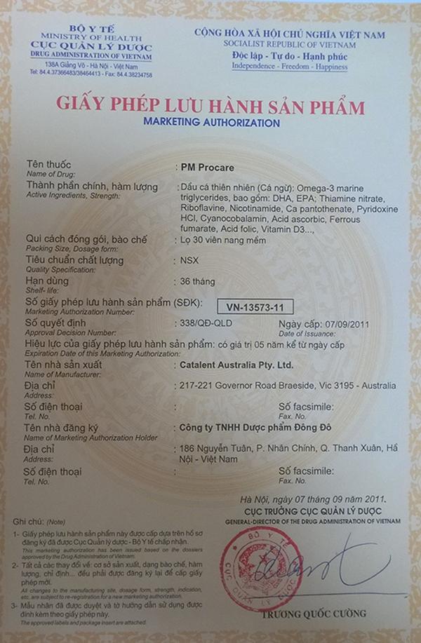 Chứng nhận lưu hành sản phẩm thuốc Procare tại Việt Nam 1