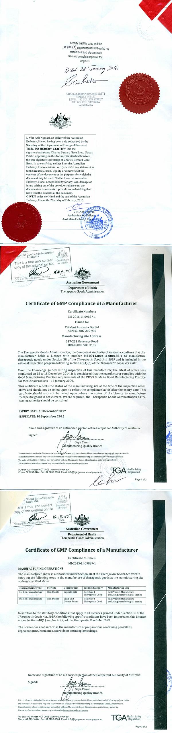 Chứng nhận tiêu chuẩn GMP của nhà máy sản xuất thuốc Procare 1