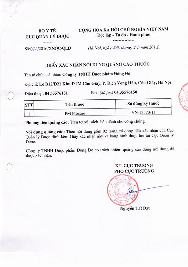 Chứng nhận lưu hành sản phẩm thuốc Procare tại Việt Nam 4