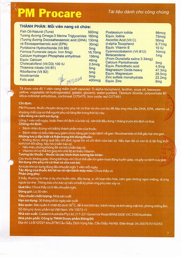 Chứng nhận lưu hành sản phẩm thuốc Procare tại Việt Nam 6