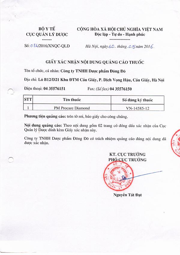 Chứng nhận lưu hành sản phẩm thuốc Procare tại Việt Nam 7