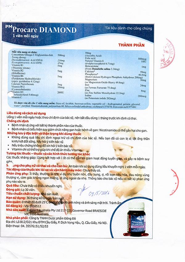 Chứng nhận lưu hành sản phẩm thuốc Procare tại Việt Nam 9