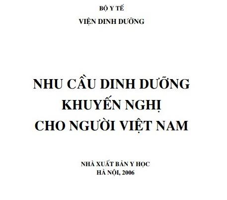 Bảng nhu cầu dinh dưỡng khuyến nghị cho người Việt Nam 2006 1