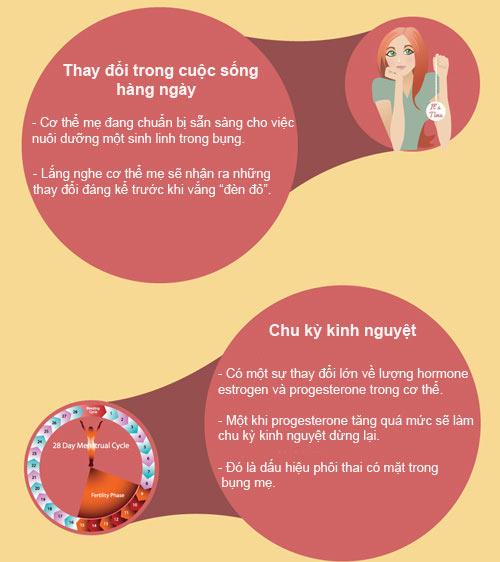 [Infographic] 11 dấu hiệu thường gặp khi mang thai 2