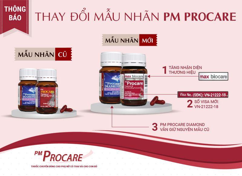 Thông báo thay đổi mẫu nhãn thuốc PM Procare 1