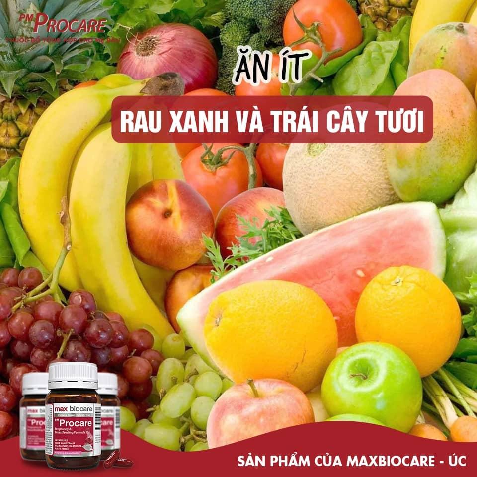Ăn ít rau xanh và trái cây tươi 1